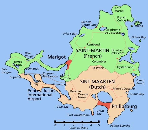 Mapa da ilha no Caribe: muitas praias paradisíacas