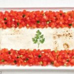 A bandeira do Líbano leva fatoush
