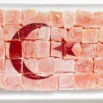 A bandeira da Turquia é formada por doce turco