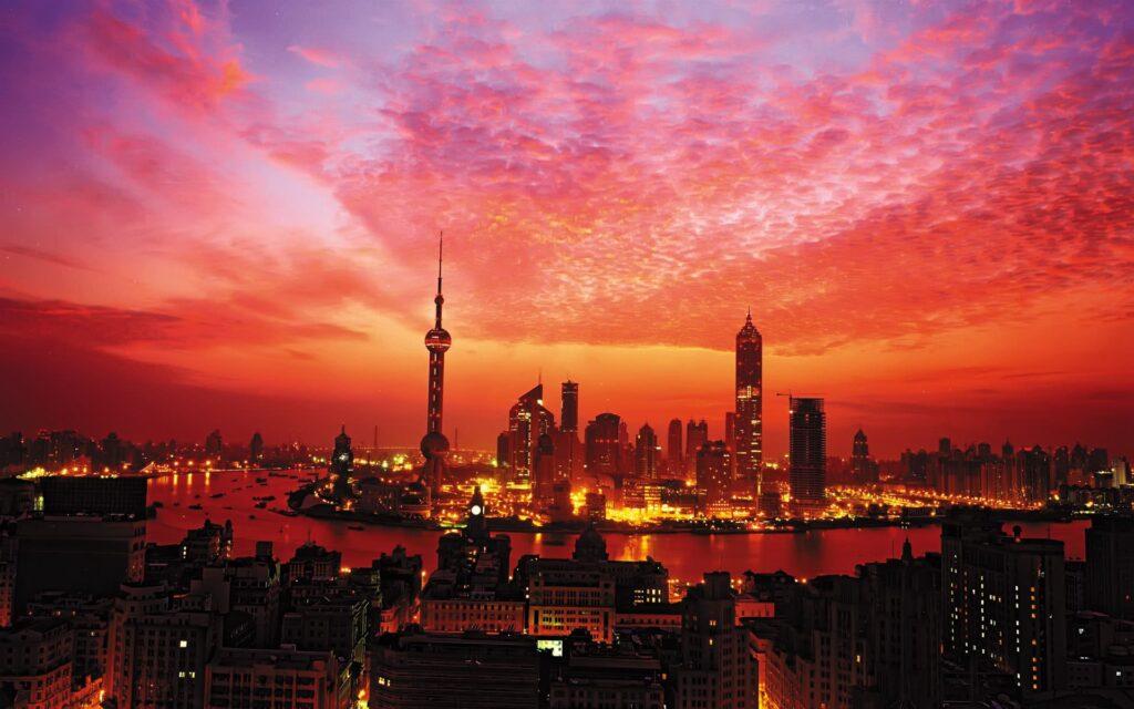 xangai china por do sol