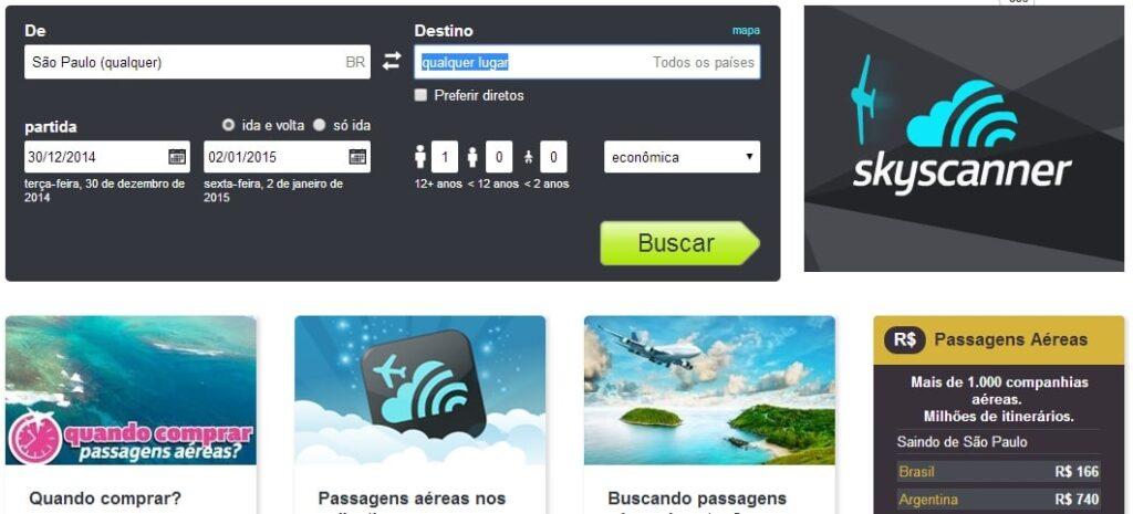 Para encontrar voos baratos para outros países no SkyScanner, escreva Qualquer lugar no destino