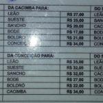 Tabela de Táxi em Noronha