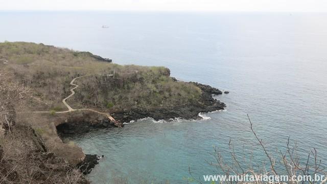 Vista de um dos mirantes do Cierro Tijeretas: trilha grátis em Galápagos