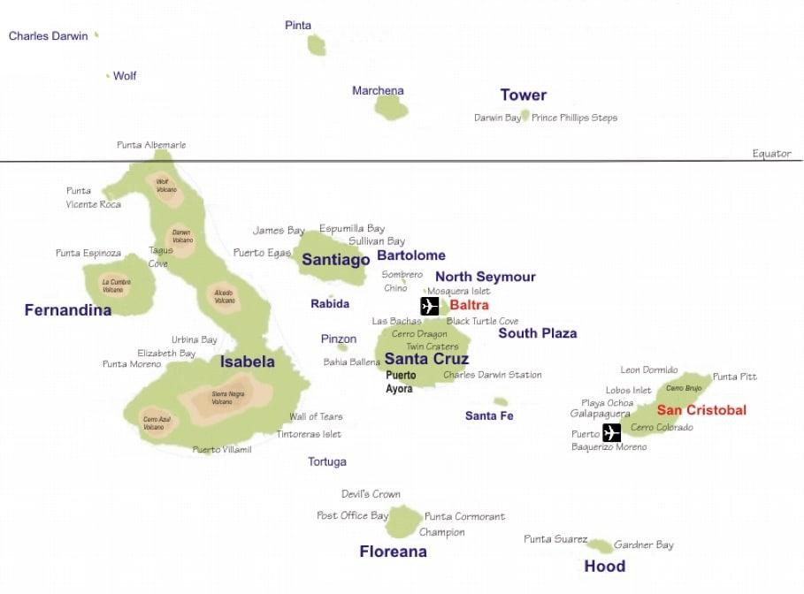 Mapa de Galápagos, com os aeroportos do arquipélago em destaque