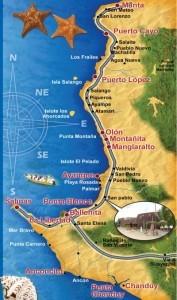 Mapa das praias do Equador