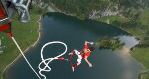 Bungee jump no Interlaken, na Suíca - foto: Carla MacNeil