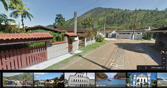 Use o Street View do Google para ver as ruas e terrenos ao lado da casa para alugar.