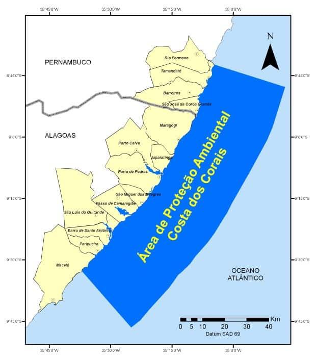 area de protecao costa dos corais mapa