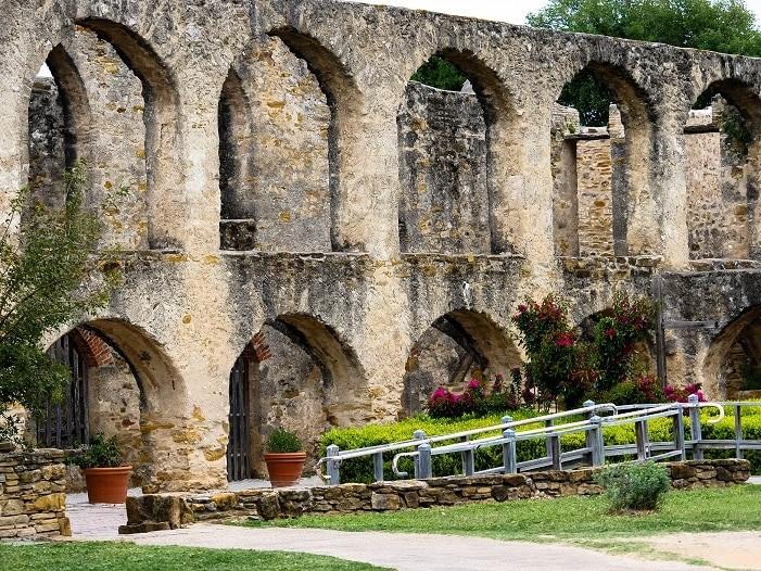 Detalhe do convento na Mission San Jose, em San Antonio - Texas.