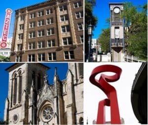 Aztec, Relógio, Tocha da amizade e Catedral de São Fernando.