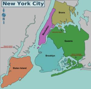 Nova York dividida por regiões. | Imagem: Wikitravel