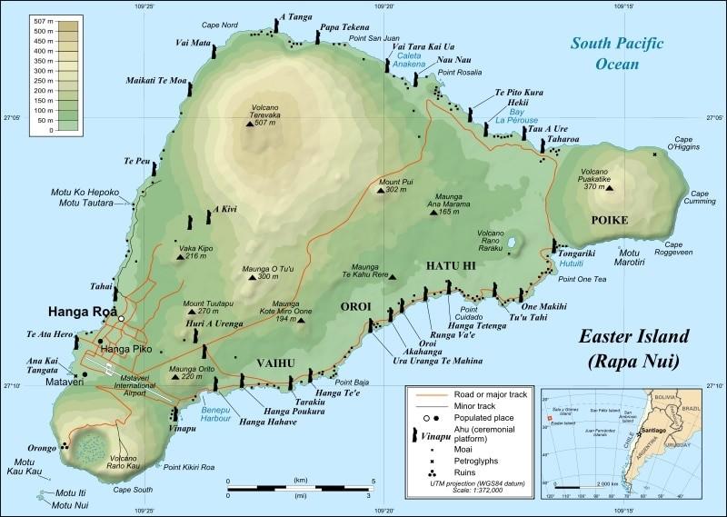 mapa ilha pascoa moais