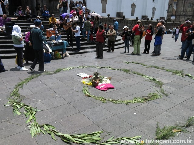 Protesto no centro histórico de Quito