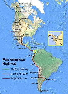 Mapa com a rota da rodovia Pan-Americana