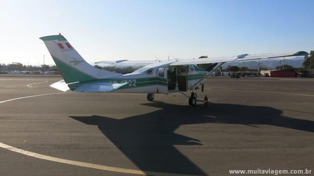 O avião que me levou pelo passeio de 45 minutos sobre o deserto