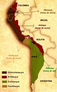 Mapa do império inca com Cusco, Peru, em destaque