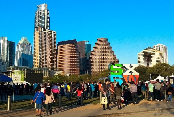 Shows do SXSW no Ladybird Park, Austin - Texas.