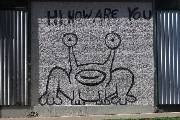 Hi How Are You? - uma das inúmeras artes de rua em Austin. | Foto: Luciana Misura