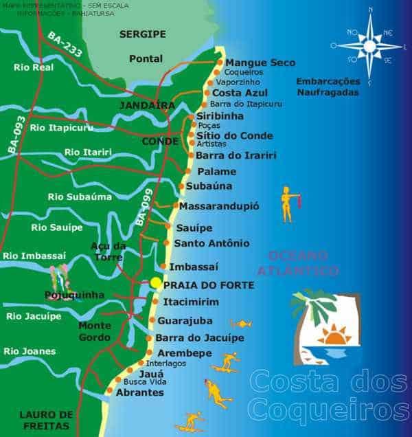 Mapa do litoral norte da Bahia, com distância para chegar nas praias