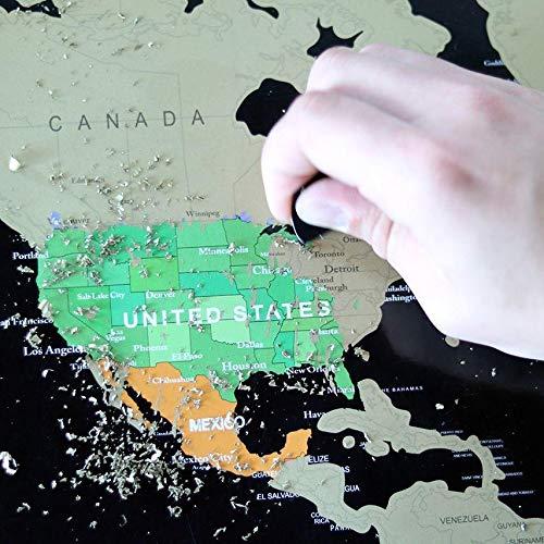 Um mapa de raspar é ótimo presente para apaixonados por viagens